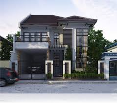2 storey house floor plan with perspective two design elevation