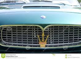 maserati grill emblem classic maserati sports cars grille detail editorial photo image