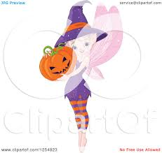 cartoon of a cute halloween pixie fairy holding a jackolantern