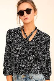 black polka dot blouse black top polka dot top button up top sleeve top
