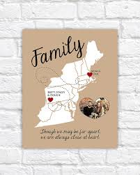east coast map family gift moving away gift personalized