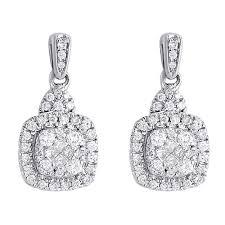 danglers earrings design diamond square design earrings 14k white gold princess