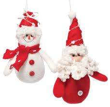 jolly plush santa and snowman ornament set of 2 contemporary