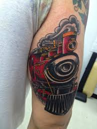 100 train tattoo 3d realistic looking colored modern train