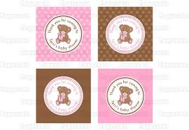 printable diy pink and brown teddy bear theme personalized