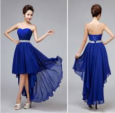 royal blue chiffon bridesmaid dresses high low bridesmaid dress royal blue chiffon pleat waist