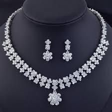 beautiful earring necklace set images Beautiful flower design wedding bridal jewelry set high quality jpg