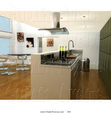 Kitchens With Green Cabinets by Avenue Clipart Of A Modern Kitchen Interior With Bar Counter
