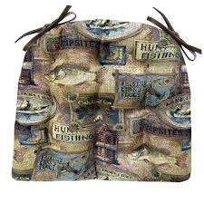 Lodge Style Home Decor by Woodlands Fish Camp Ding Chair Cushion Barnett Products