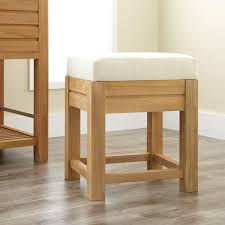 Vanity Stool For Bathroom by Banta Teak Bathroom Stool With Fabric Top Bathroom