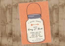 Mason Jar Bridal Shower Invitations Mason Jar Printable Wedding Shower Invitation In Peach The