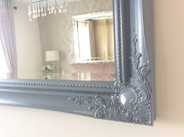 grey shabby chic ornate decorative wall mirror free postage