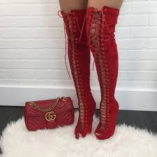 red peep toe thigh high boots u2013 virgin pearls collection