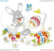 clipart of a cartoon gray bunny rabbit painting a canvas and