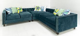 Blue Velvet Sectional Sofa Wonderful Velvet Sectional Sofa With Cecilia Blue Velvet Sectional