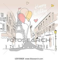 clip art of happy birthday card from paris street eiffel tower