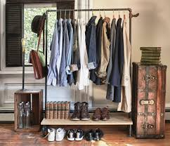 rustic interior design with pipe clothing rack ikea and dark