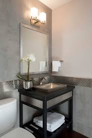 Bathroom White Porcelain Flooring Stainless by Modern Powder Room With Hardwood Floors Powder Room Soapstone