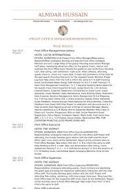 Hotel Front Desk Resume Examples by Front Office Manager Exemple De Cv Base De Données Des Cv De