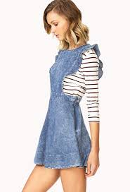 forever 21 darling denim pinafore dress in blue lyst