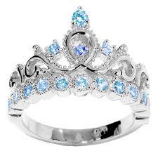 ring with birthstones 14k gold princess crown blue topaz birthstone ring december