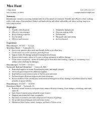 Resume Examples For Housekeeping by Spectacular Design Housekeeping Resume 1 Unforgettable Housekeeper