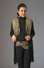 distressed leather vest and belt western wear women western