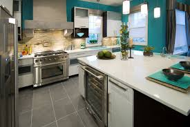 attractive grey and turquoise kitchen with paint color schemes