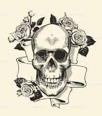 human skull with rose grasped with jaws and ribbon on background