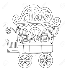 illustration of a ready to print coloring page featuring a circus