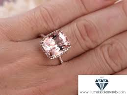cushion ring 10x12mm cushion cut morganite engagement ring diamond pave halo