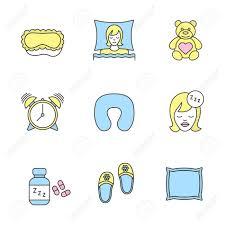 sleeping accessories sleeping accessories color icons set sleeping women mask teddy