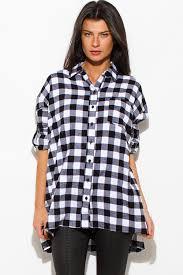 Black And White Plaid Shirt Womens Shop Black Cotton Button Up Long Sleeve Oversized Checker Plaid