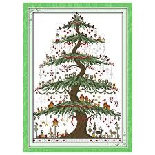tree 2 patterns counted cross stitch 11ct 14ct cross