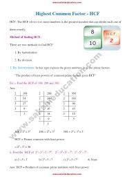 higest common factor hcf litre factorization