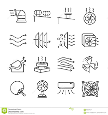 Air Ventilator Price Airflow Line Icon Set Included The Icons As Airflow Turbine Fan