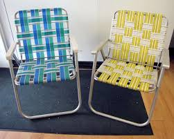 Patio Chair Strapping Pair Retro Vtg Vintage Folding Aluminum Lawn Chair Webbed Web