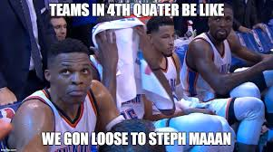 Okc Memes - okc were up 103 to 99 but the look on their faces says it all