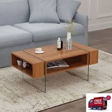middle table living room glass wood coffee table modern walnut quality design living room