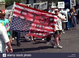 American Flag Upside Down Demonstrators Carrying Upside Down Flag Protesting Kosovo War