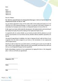 Confirmation Of Appointment Letter Sample Appointment Letter Of Designated Ee Manager Document Labour Law