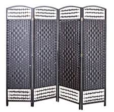 Wicker Room Divider Wicker Made Room Divider Black 4 Panels Eazy Goods