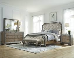 Furniture Set Bedroom Celine 5 Piece Mirrored And Upholstered Tufted Queen Size Bedroom