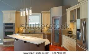 Design Of Modern Kitchen Kitchen Luxury Home Large Center Island Stock Photo 109770086