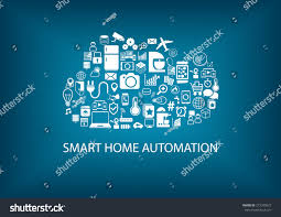 smart home automation cloud computing technology stock vector