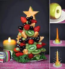 fruit christmas tree festive edible table display christmas