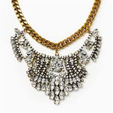 chain collar necklace images Vintage bib gold chain collar necklace with rhinestones jpg