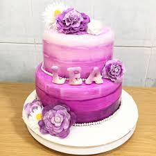 flower fondant cakes sherbakes purple ombre flower cake