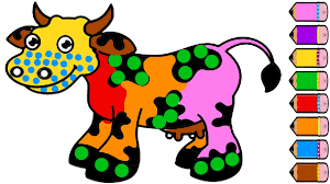 cow coloring page learn colors for kids drawing animal youtube