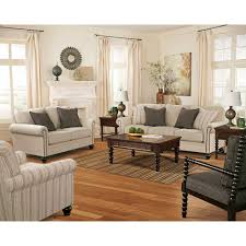 Ashley Living Room Furniture Linen Key Town Living Room Group 7 Pc With 3 Pc Occasional Table Set